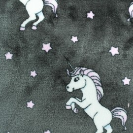 Tissu Doudou Licorne - gris x 10 cm