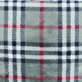 Tissu Doudou écossais - gris x 10 cm