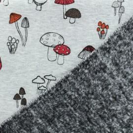 ♥ Coupon tissu 20 cm X 165 cm ♥ sweat envers minkee Champignon d'automne - gris