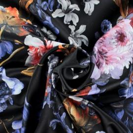 Tissu satin polyester Sidonie - Noir x 50cm