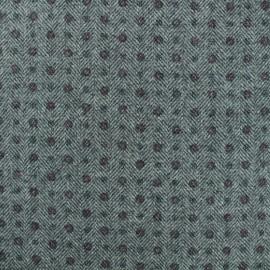 Tissu Lainage chevron fleuri - gris x 10cm