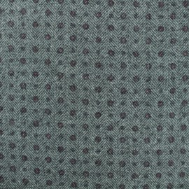 Wool knit fabric - grey flowery herringbone x 10cm