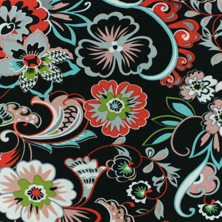 Viscose Fabric - Black Tatiana x 10cm