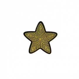 Embroidered Star Iron-On Patch - Gold