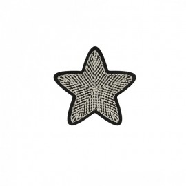 Embroidered Star Iron-On Patch - Silver