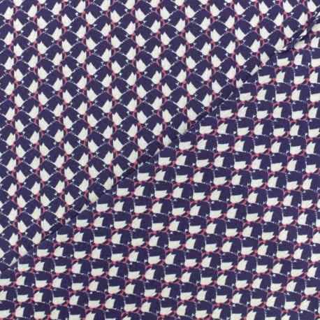 Waffle stitch viscose crepe fabric - Purple Orlane x 10cm