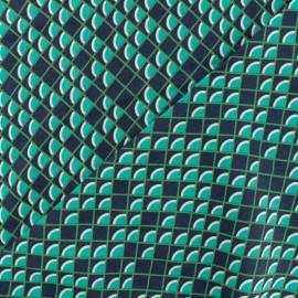 Tissu Viscose écailles - vert x 10cm