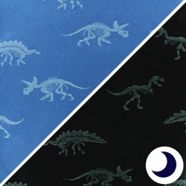 Poppy jersey fabric - Blue Dino x 10cm