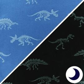 Tissu jersey Dino - bleu x 10cm