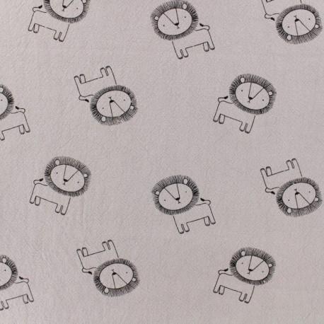 Tissu coton lavé Little lion - rose brume x 10cm