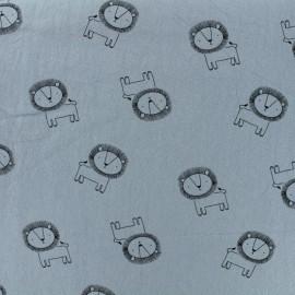 Tissu coton lavé Little lion - gris bleuté x 10cm