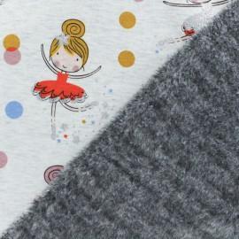 Tissu sweat envers minkee Ballerina - écru/rouge x 10cm