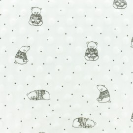 Minkee velvet fabric dot - white Winter Teddy x 10cm