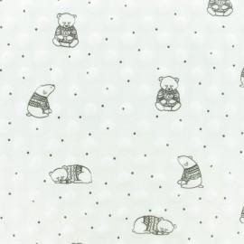Tissu Velours Minkee doux relief à pois Winter Teddy- Blanc x 10cm