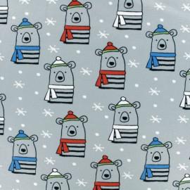Tissu coton jersey Stenzo Teddy winter - gris x 10cm