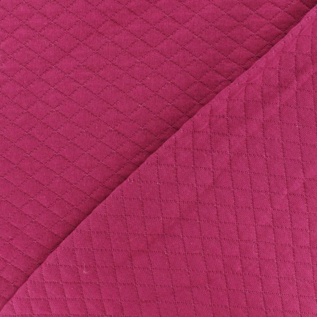 Quilted jersey fabric Diamonds 10/20 - Fuchsia x 10cm