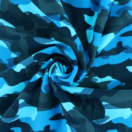 Thick Swimsuit Lycra fabric - turquoise Camouflage x 10cm
