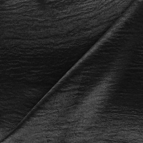 Tissu crêpe satin - noir x 50cm