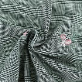 ♥ Coupon 40 cm X 140 cm ♥ Tissu Tailleur Prince de galles brodé de fleurs - Bouquet rose