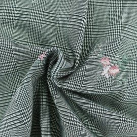 Embroidered Prince de galles Tailleur fabric - Pink flowers  x 10cm