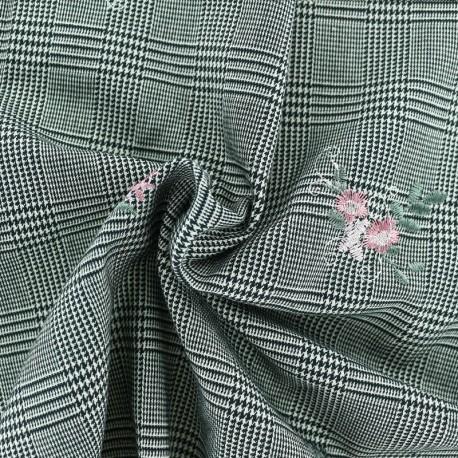 Tissu Tailleur Prince de galles brodé de fleurs - Bouquet rose  x 10cm