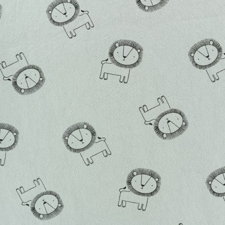 Tissu coton lavé Little lion - gris x 10cm