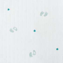 Cotton muslin fabric -  Jade green Petit Peton x 10cm