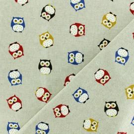 Tissu polycoton - C'est Chouette ! - naturel x 10cm