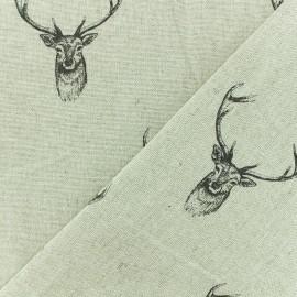 Tissu polycoton - Cerf Royal - naturel x 10cm