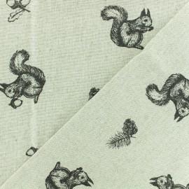 Tissu polycoton - Ecureuil et noisette - naturel x 10cm