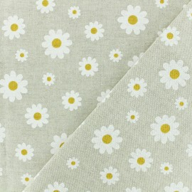 Tissu polycoton - Daisy - naturel x 10cm