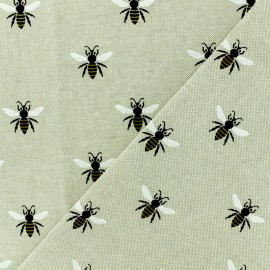Poly cotton fabric -  Honey Bee - natural x 10cm