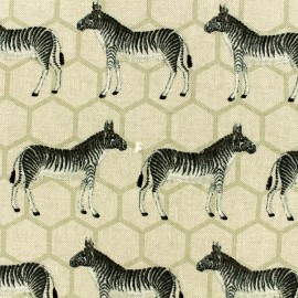Poly cotton fabric - Zebra - natural x 10cm