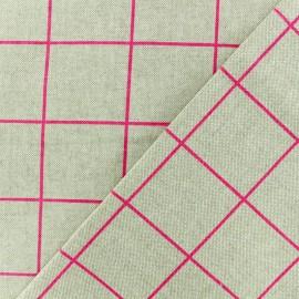 Tissu polycoton - Carreaux Rose fluo - naturel x 10cm