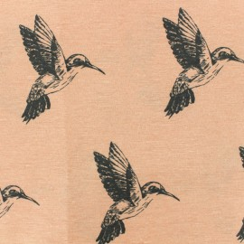Poly cotton fabric - Peach Pink Colibri x 10cm