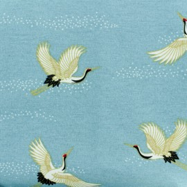 Poly cotton fabric - Blue Japanese crane x 10cm