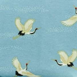 Tissu polycoton - grue Japonaise - bleu x 10cm