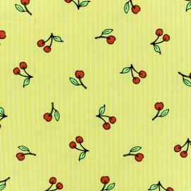 Poly cotton fabric - Yellow Temps des cerises x 10cm