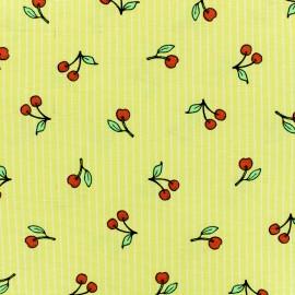 Tissu polycoton Temps des cerises - jaune x 10cm