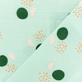 Poly cotton fabric - Blue Graphic lake x 10cm