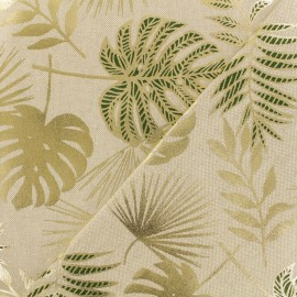 Tissu polycoton - Jungle leaf - Naturel x 10cm