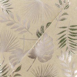 Poly cotton fabric - Jungle leaf - natural/silver x 10cm