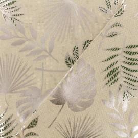 Tissu polycoton - Jungle leaf - Naturel/argenté x 10cm