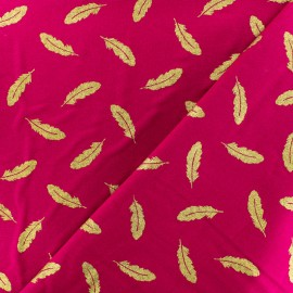 Froufrou cotton fabric - Turquoise/gold Plume scintillant x 10cm