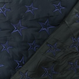 Quilted polyester fabric - Navy blue Star x 10cm