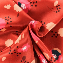 Satin fabric - rouge Festive x 50cm