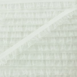 Flounce Muslin Elastic Ribbon - Ecru x 1m