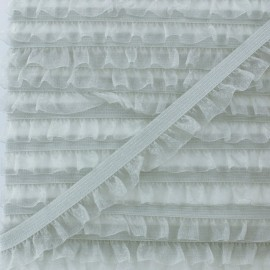 Flounce Muslin Elastic Ribbon - Light Grey x 1m