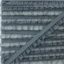 Flounce Muslin Elastic Ribbon - Grey x 1m