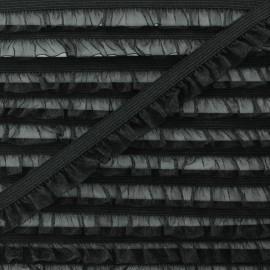 Flounce Muslin Elastic Ribbon - Black x 1m